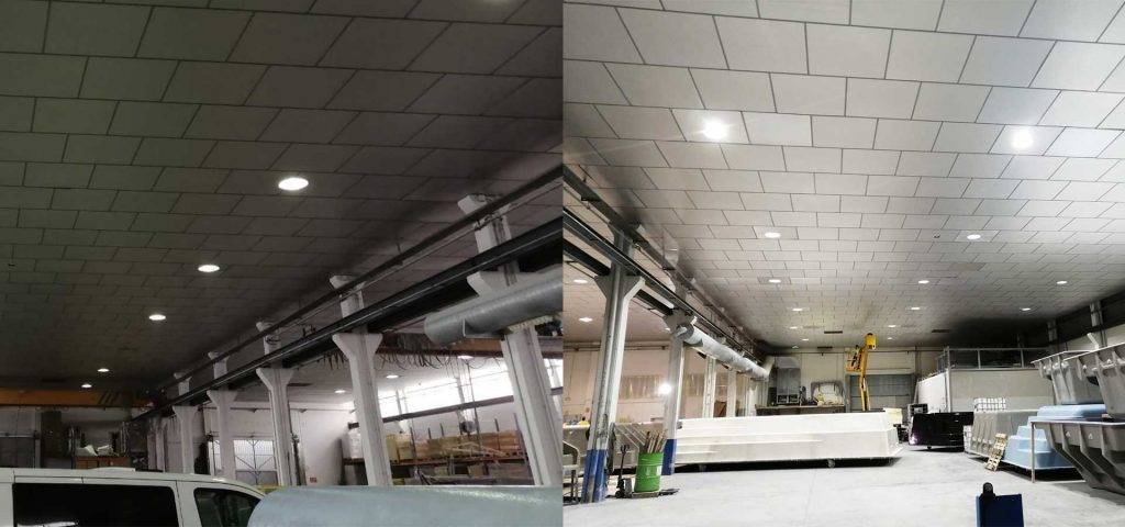 renovación iluminación led industrial - piscinas prat